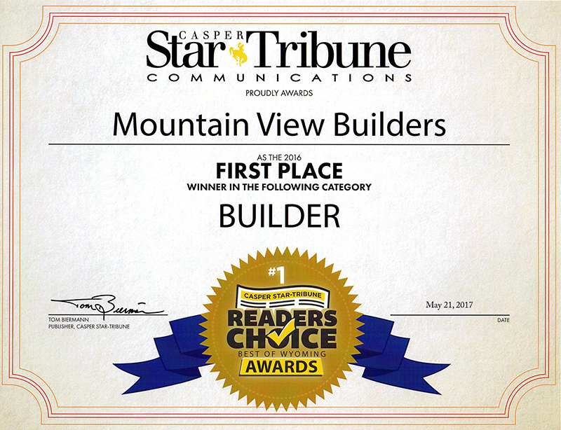 Mountain View Builders was awarded the 2015 Readers Choice Award by the Casper Star Tribune